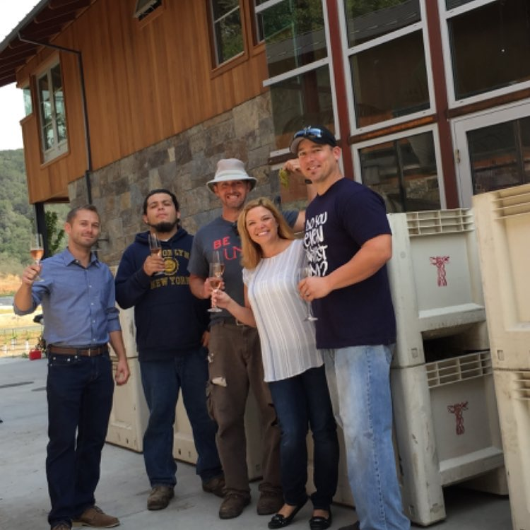 2015 Harvest blessing the grapes Ryan, Diego, Sam, Amanda & Brian