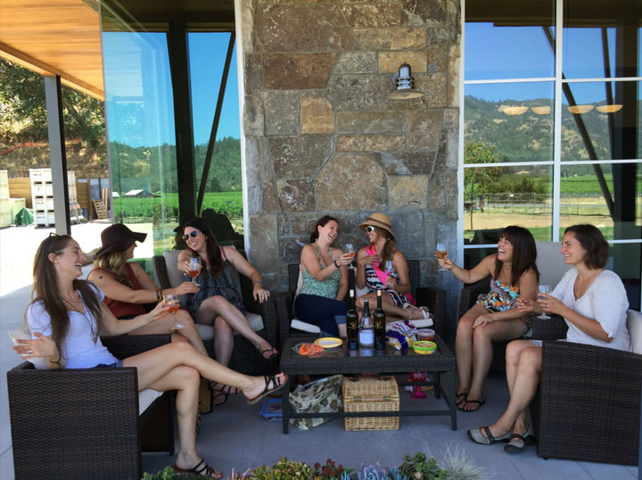 Guests enjoying the lovely views from our patios