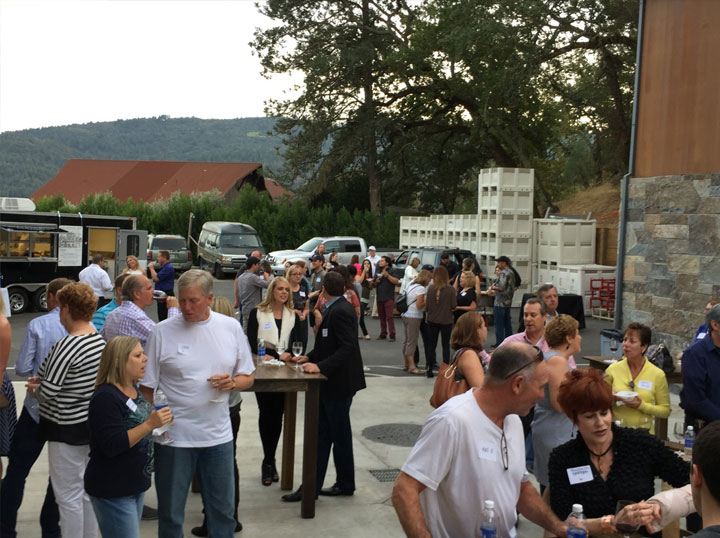 Food trucks and free flowing wine at our harvest party