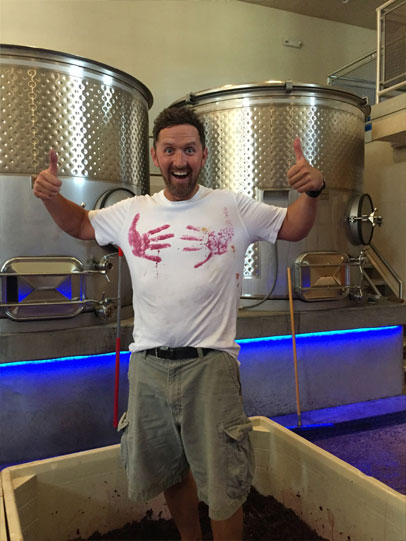 Assistant Winemaker Sam Garske, stomping the port grapes
