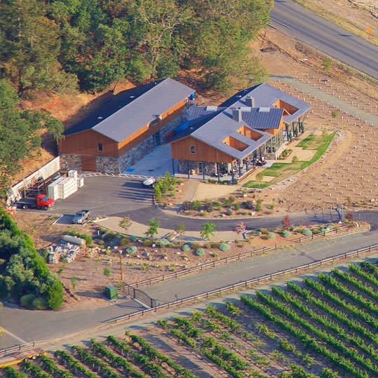 Aerial view from a hot air balloon of Brian Arden Winery